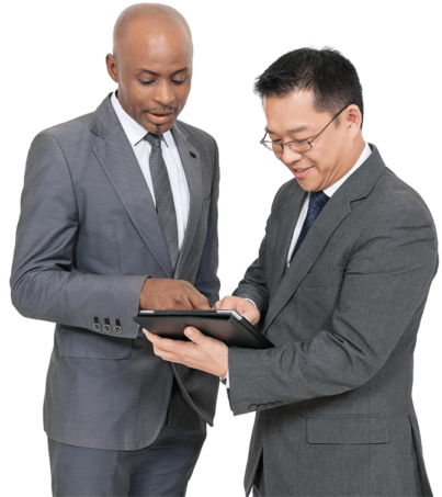 Two guys looking at conversion data