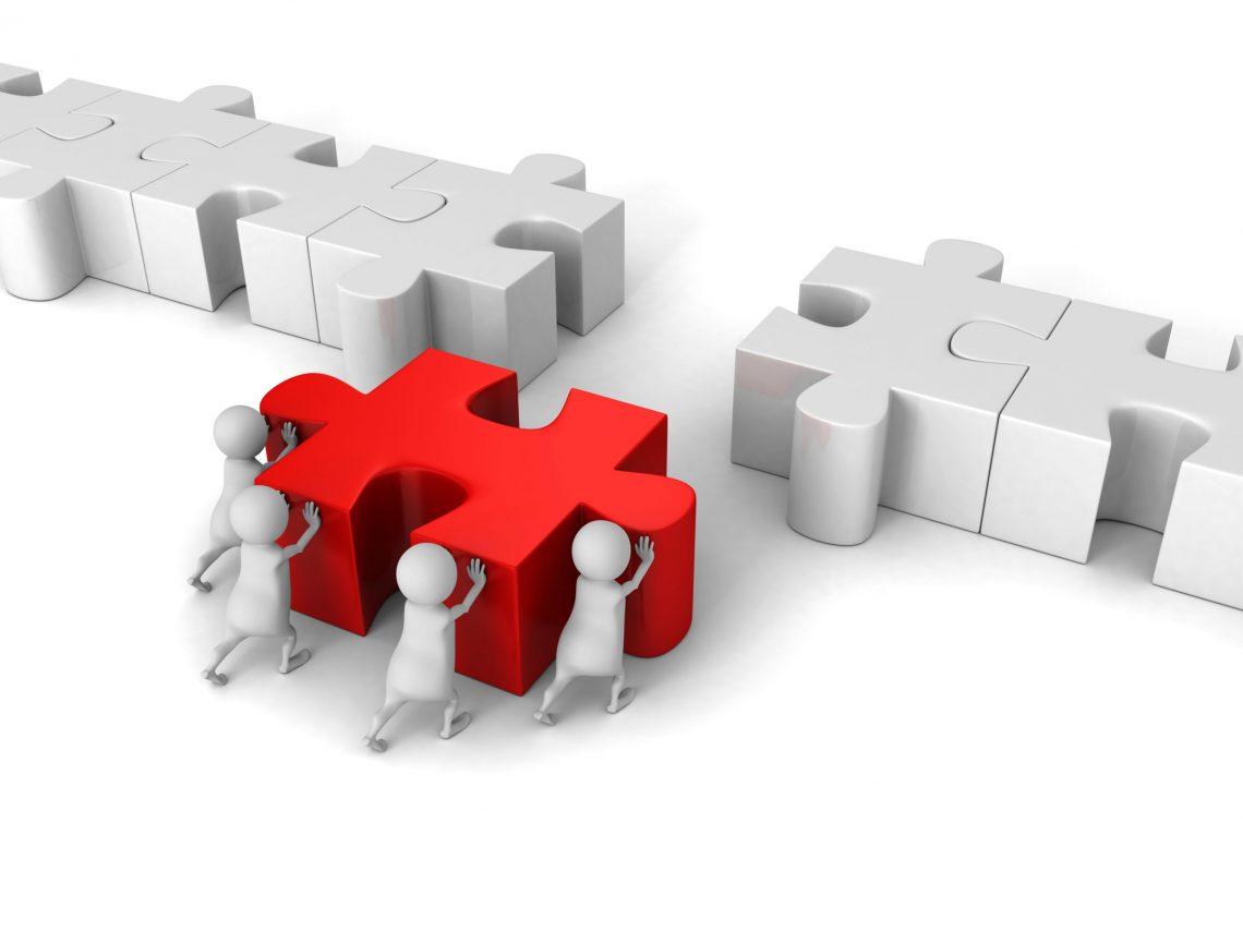 White 3d Team Push Last Jigsaw Puzzle Peace. 3d Render Illustration